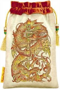 Baba Studio Mythical Creatures tarot bag, dragon print, Queen of Wands, velvet tarot pouch