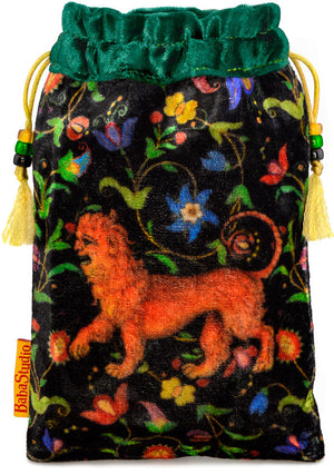 The Manticore bag. Printed on silk velvet. Forest green velvet version. - Baba Store - 1