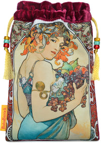 Fruit — Mucha Art Nouveau print with burgundy silk velvet