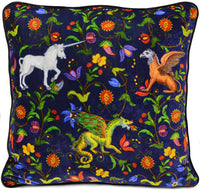 unicorn cushion, pillow, silk velvet, griffon, gryphon, dragon, printed pillow