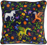 Silk velvet cushion cover, mythical beasts pillow, unicorn, dragon print