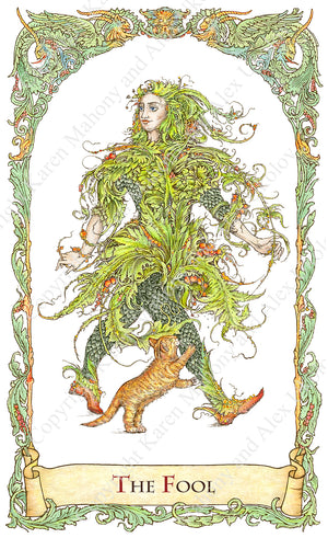 mythical creatures tarot, the fool, amadan, irish fool, irish fairy, hand-drawn, water colour, bababarock, tarot card deck, fantastical creatures tarot, tarot de marseilles