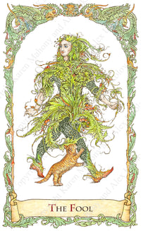 mythical creatures tarot, the fool, tarot fool, green man, fool with cat, amadan dubh, hand-painted, water colour, bababarock, tarot card deck, TdM, fantastical creatures tarot, tarot de marseilles