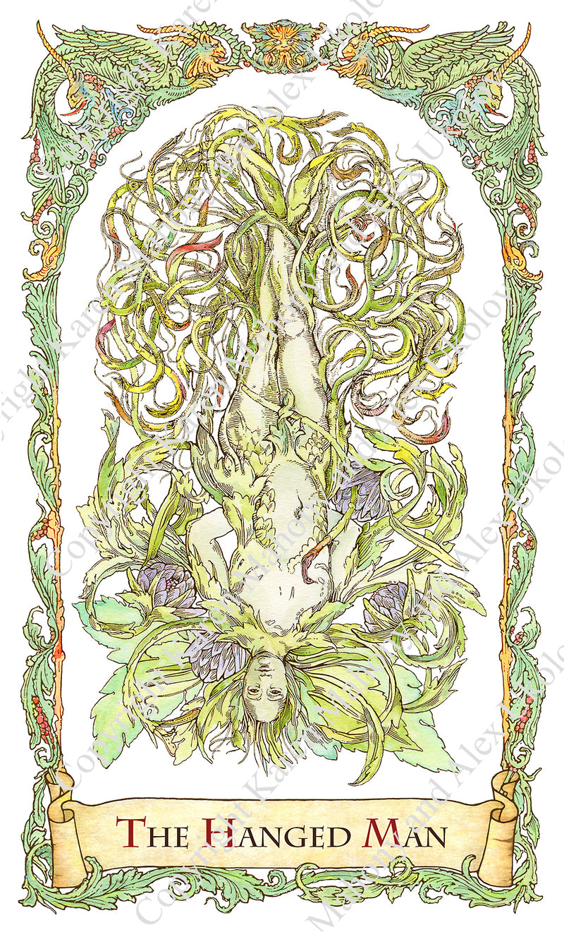 mythical creatures tarot, The hanged man, mandrake, hand-drawn, water colour, bababarock, tarot card deck, fantastical creatures tarot, tarot de marseilles