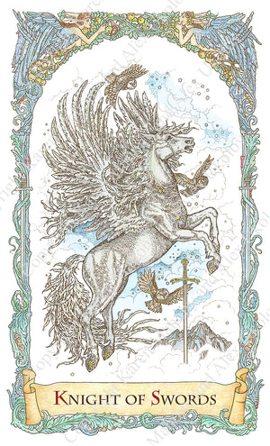 mythical creatures tarot, knight of swords, pegasus, the winged horse, thestral, hand-drawn, water-colour, bababarock, tarot card deck, fantastical creatures tarot, tarot de marseilles