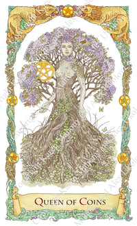 mythical creatures tarot, wood nymph, tree nymph, dryad, queen of pentacles, baba studio, bababarock, tarot cards, fantastical creatures tarot, tarot de marseilles