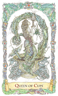 mythical creatures tarot, Queen of Cups, tarot queen, melusine, mermaid tarot, mermaid with two tails, TdM, hand-painted, water colour, bababarock, tarot cards, fantastical creatures tarot, tarot de marseilles