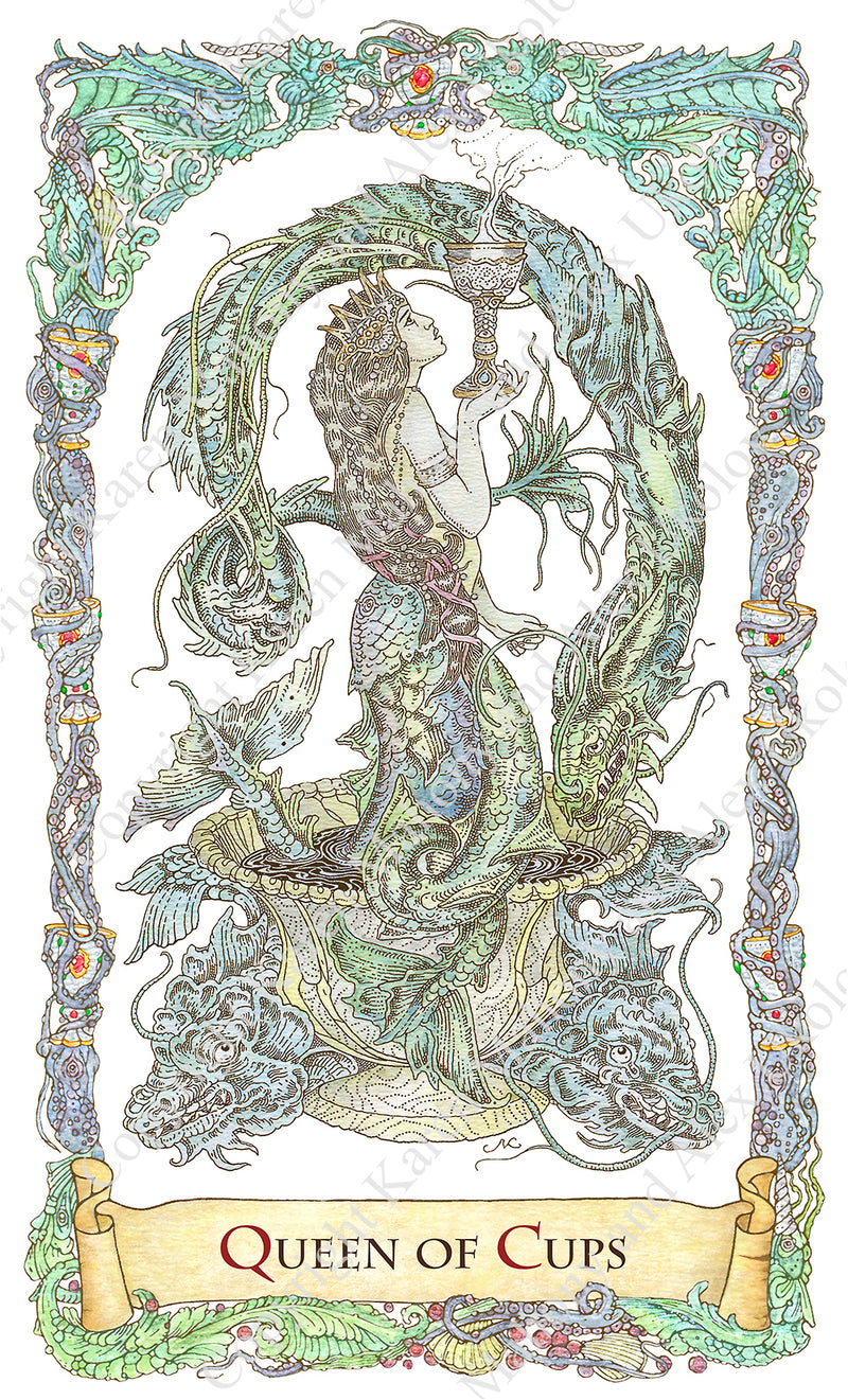 mythical creatures tarot, melusine, mermaid with two tales, queen of cups, mermaids in tarot, bababarock, tarot cards, fantastical creatures tarot, tarot de marseilles