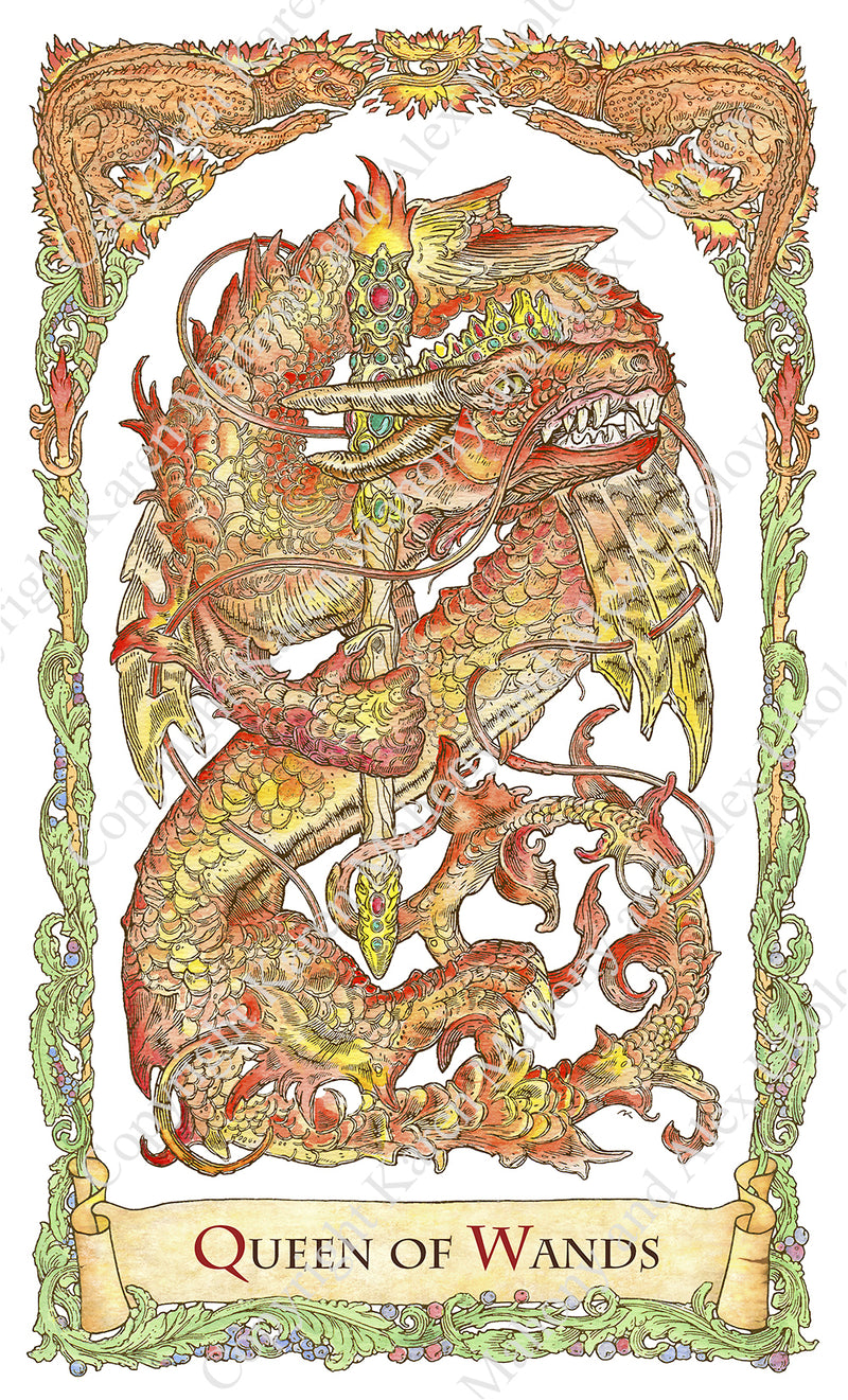mythical creatures tarot, red dragon, dragons, dragons in tarot, queen of wands, dragon tarot, baba studio, bababarock, tarot cards, fantastical creatures tarot, tarot de marseilles