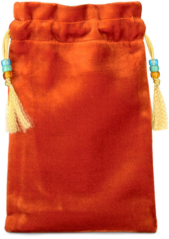 Alice and the Shower of Cards, orange silk velvet tarot pouch