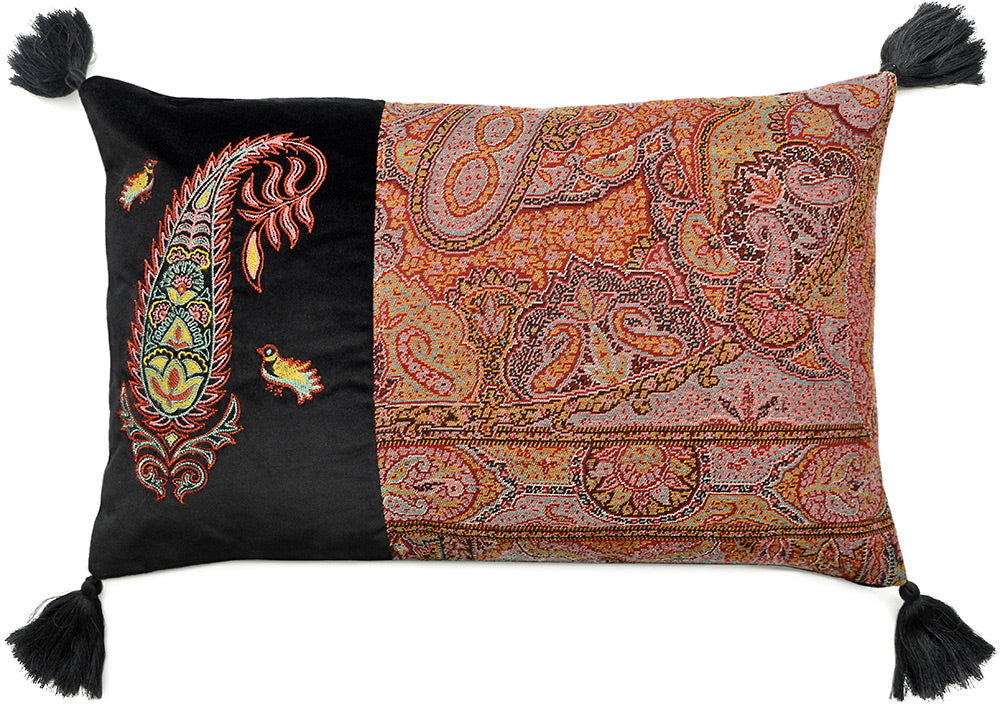 embroidered cushion, paisley pillow, antique Victorian fabric, bird pattern, designed by Baba Studio