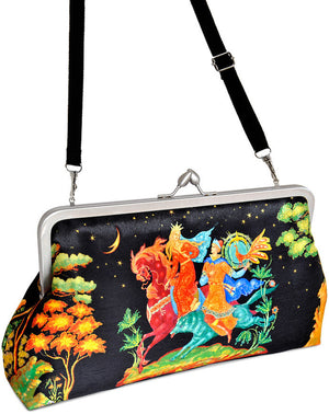 A Russian Fairy tale, large printed satin clutch bag. Firebird, Baba Yaga print by Baba Studio