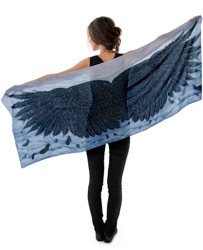 Wings of an Angel, black version, pure silk-satin scarf/wrap. - Baba Store - 3