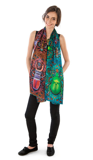 Beetle Belle, pure silk-satin scarf/wrap. - Baba Store - 5