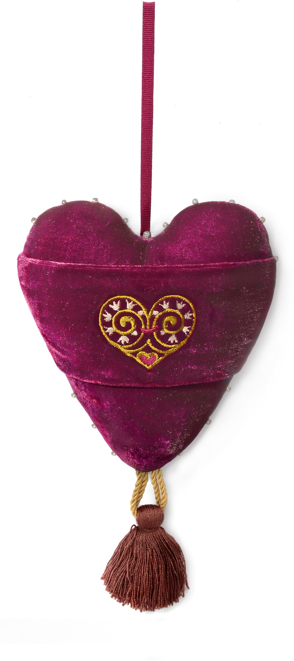 back of stuffed heart, victorian striped fabric, love is enough, heart charm, romantic heart, handmade heart, stuffed heart, valentine heart, hand sewn, silk velvet