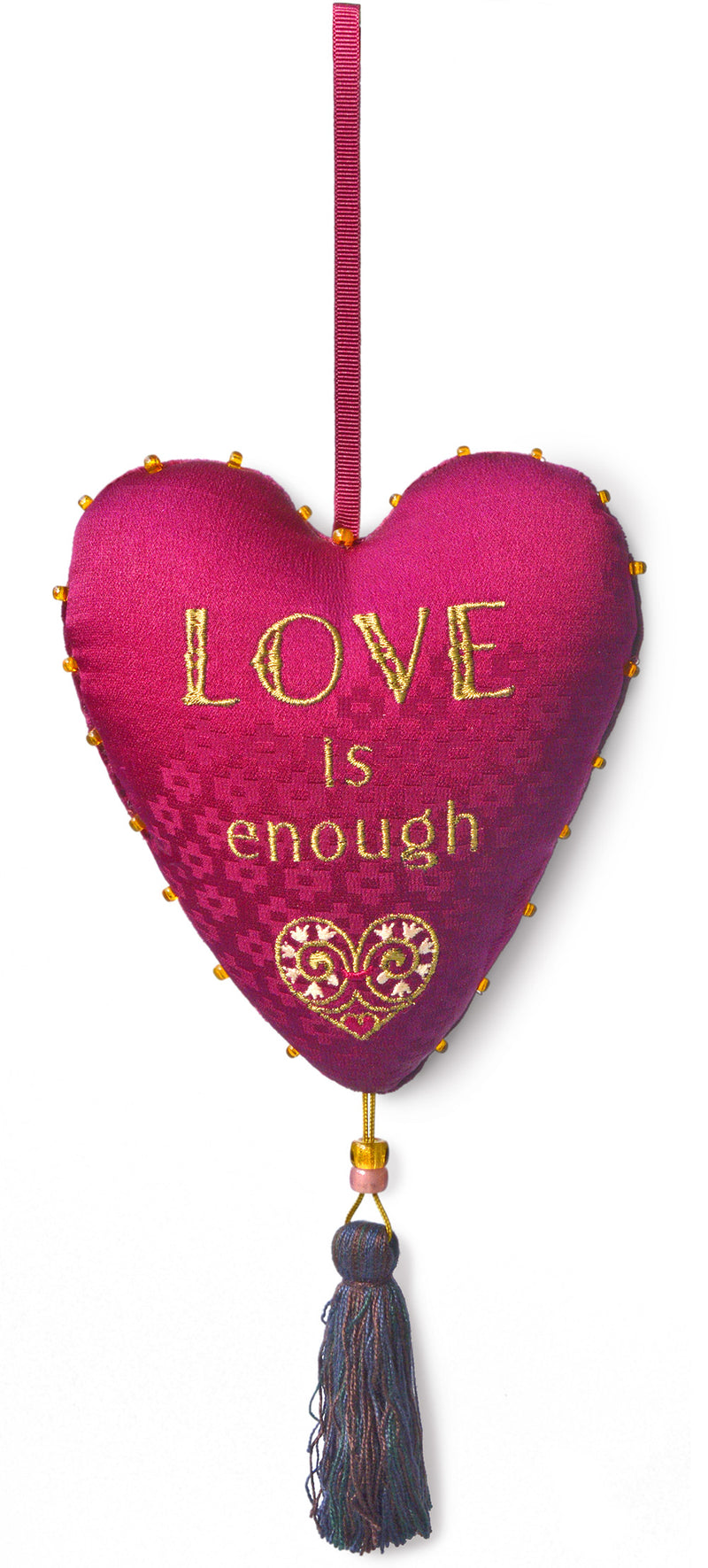love is enough, love heart, stuffed heart, embroidered heart, charm, spellcraft, hanging charm