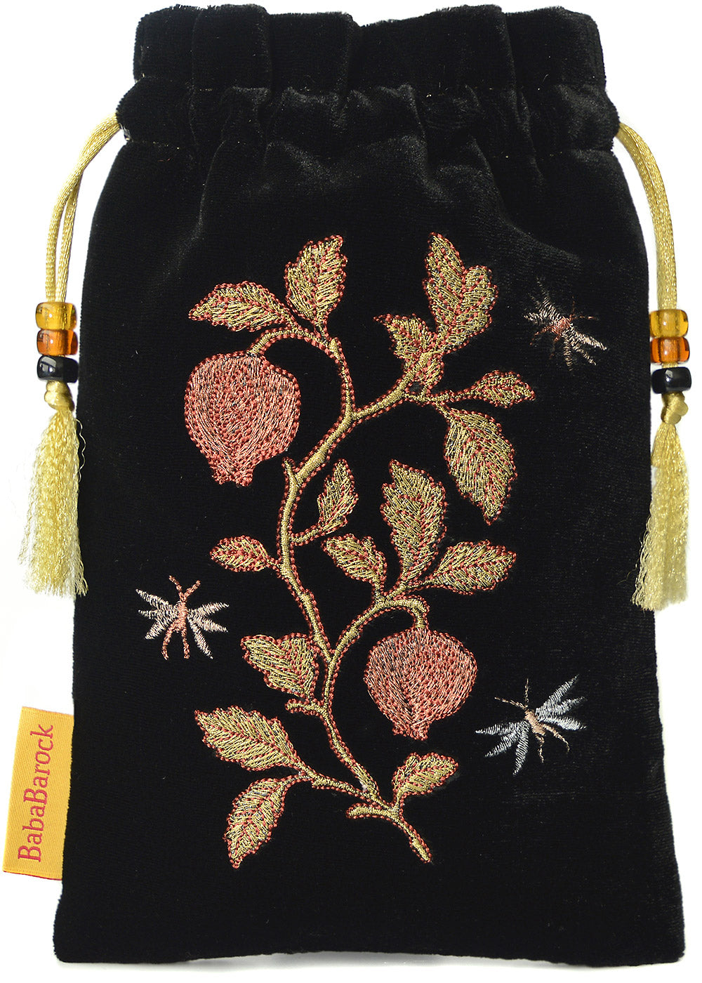 embroidered tarot bag, embroidered tarot pouch, metallic embroidery, silk velvet, embroidered pouch, drawstring, insect embroidery design