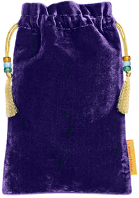 back of embroidered tarot bag, embroidered tarot pouch, metallic embroidery, silk tarot bag, tarot pouch, purple, silk velvet, embroidered pouch, embroidered drawstring, silk velvet tarot bag