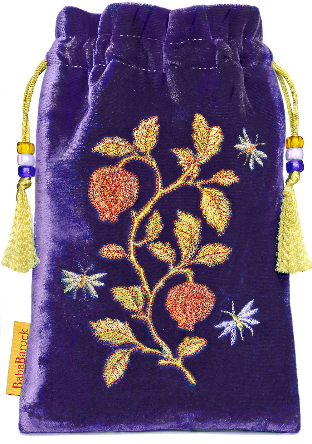 embroidered tarot bag, embroidered tarot pouch, metallic embroidery, silk tarot bag, tarot pouch, purple, silk velvet, embroidered pouch, embroidered drawstring, insect embroidery design
