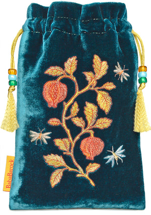 embroidered tarot bag, teal, tarot pouch, metallic embroidery, silk velvet, embroidered pouch, drawstring, embroidered insects