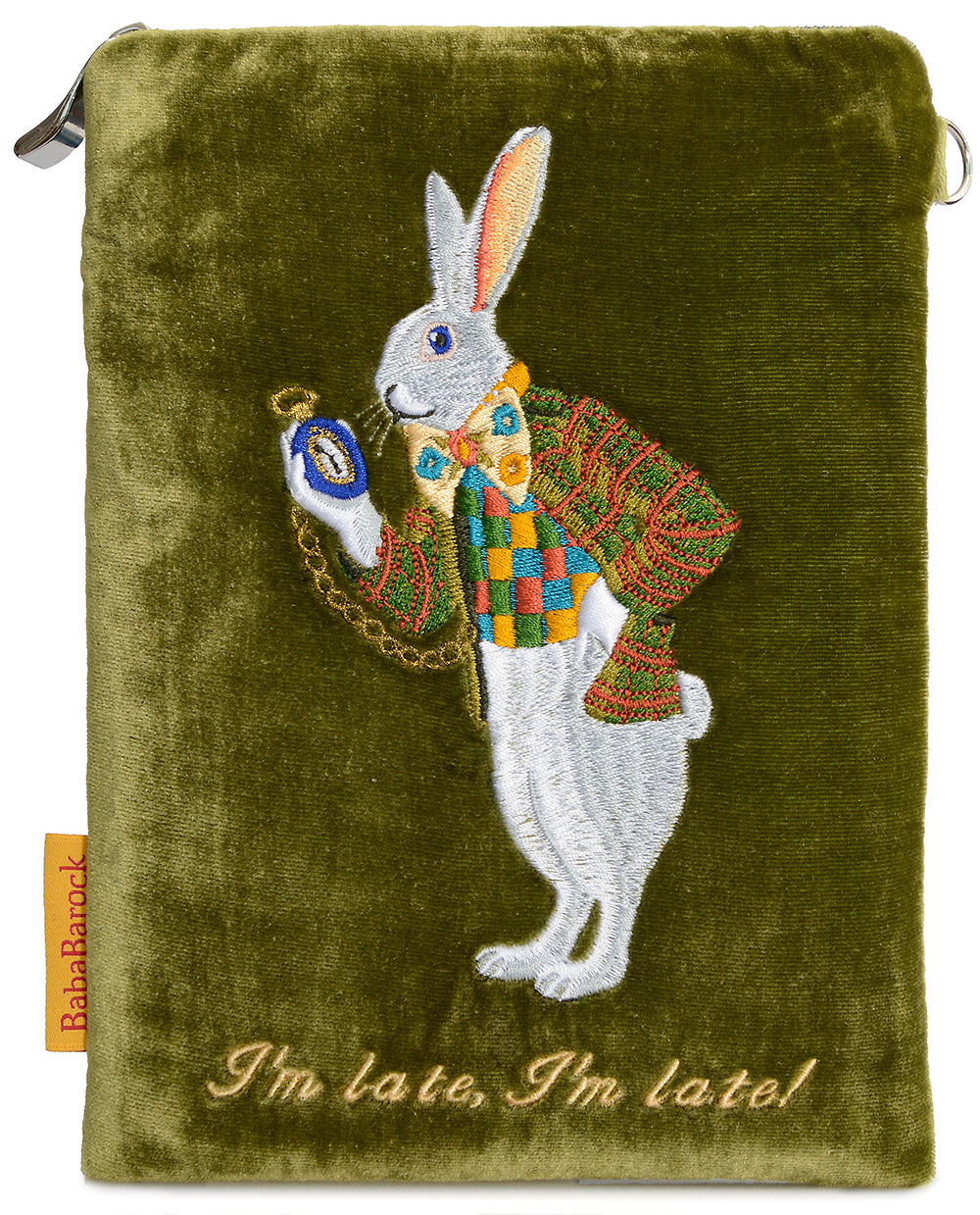 white rabbit, alice, wonderland, I'm late, embroidered, velvet, wristlet, pouch