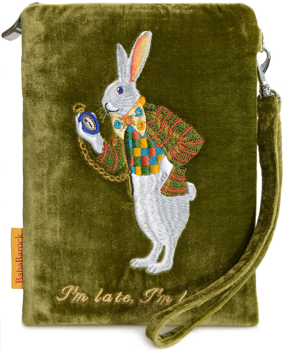 white rabbit, alice in wonderland, I'm late, embroidered, silk velvet, wristlet, pouch