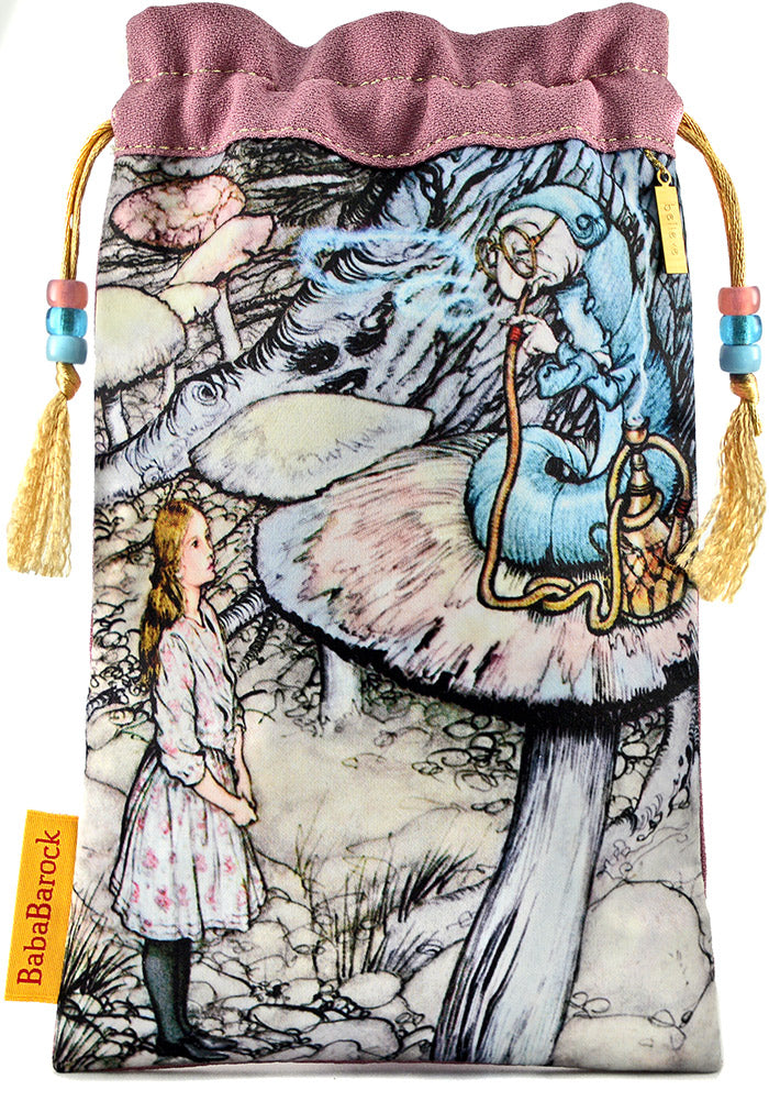 Printed tarot bag featuring Alice and the Caterpillar by Arthur Rackham. Limited edition tarot pouch in vintage kimono silk. By Baba Studio.