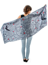 The Raven, pure silk-satin scarf/wrap. - Baba Store - 3
