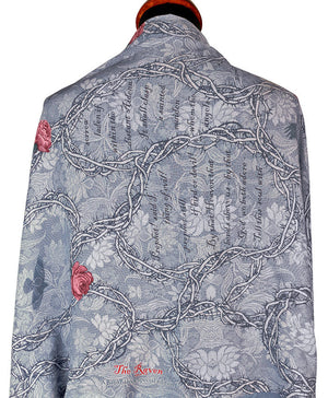 Printed scarf with Gothic design, The Raven viscose wrap by Baba Studio
