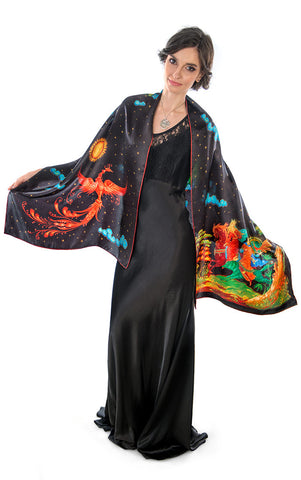 The Firebird, pure silk-satin scarf/wrap.