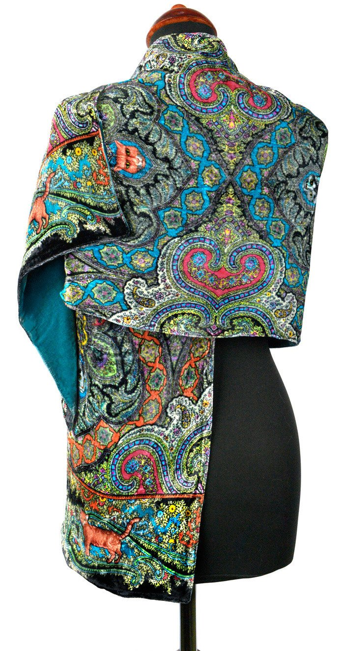 Cats Prowling in Paisley, silk velvet scarf. TEAL back. - Baba Store EU - 2