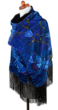 Blue Roses at the Circus, silk velvet scarf. BLACK back. - Baba Store - 6