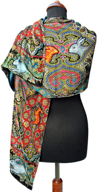 Rabbits Running in Paisley, silk velvet scarf.  PEACOCK TEAL back. - Baba Store EU - 3