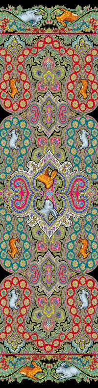 Rabbits Running in Paisley, silk velvet scarf.  PEACOCK TEAL back. - Baba Store EU - 5