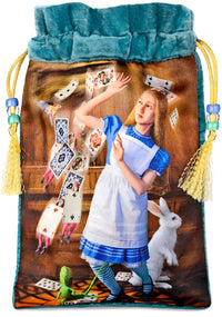 Alice and the Shower of Cards — silk velvet tarot bag, tarot pouch. Alice in Wonderland. White Rabbit