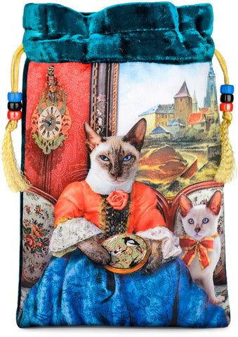 The Siamese Needlewoman — teal silk velvet tarot bag