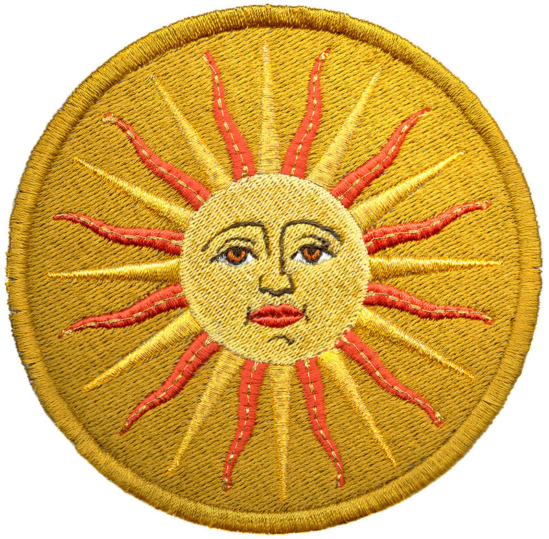 The Sun (Le Soleil) embroidery patch - with gold metallics