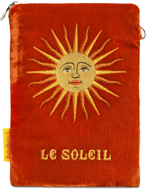 wristlet, silk velvet, embroidery, handmade, tarot bag, Wirth Tarot, le soleil, the sun