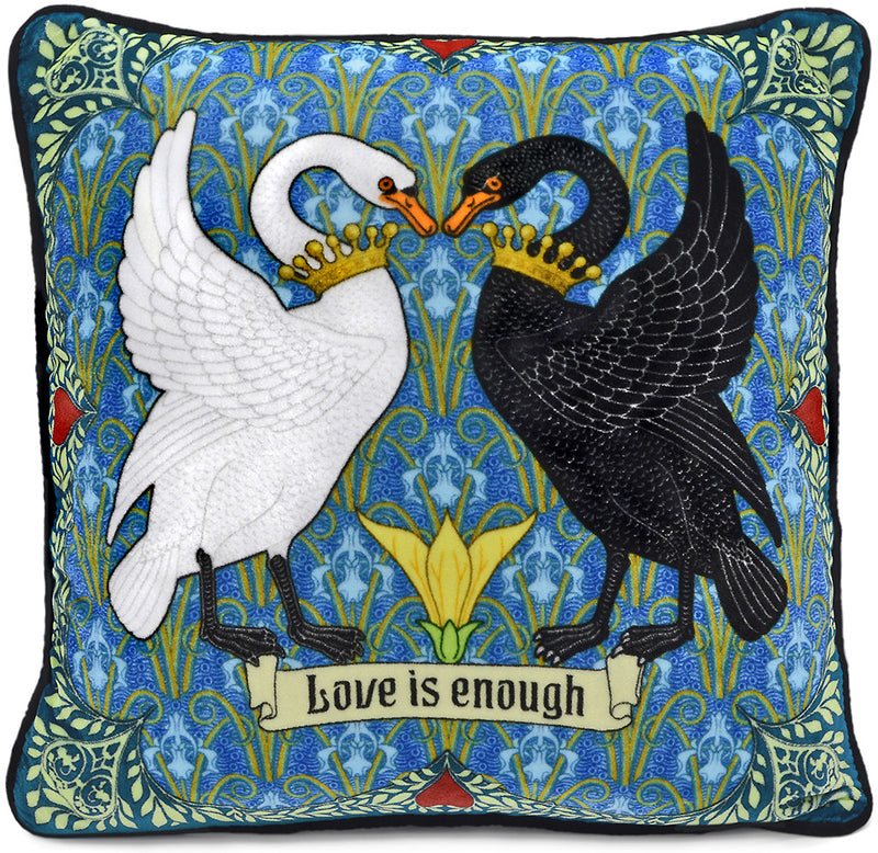Love is Enough - Black Swan, White Swan on silk velvet