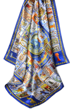 The Tarot of Prague. Limited edition silk satin scarf in tarot print