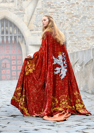 The Bohemian cloak. Art Nouveau patterns with optional Bohemian Lion on the back. Special order only. - Baba Store - 1
