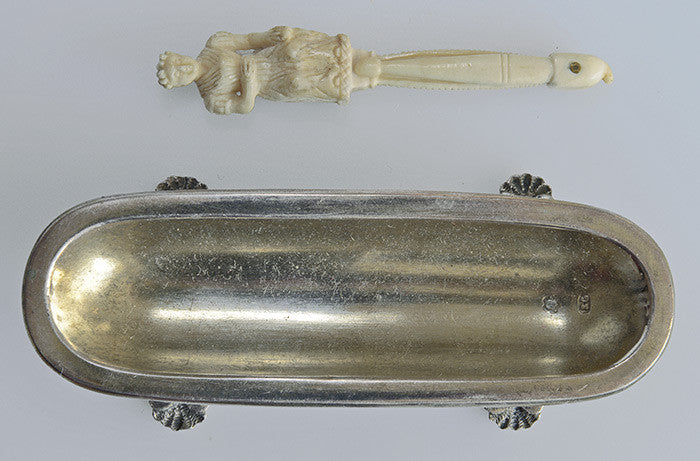19th century bone toothpick (or bodkin?) in silver dish. Antique, strange piece, from a Czech castle estate. Possibly a Dieppe carving. - Baba Store - 9