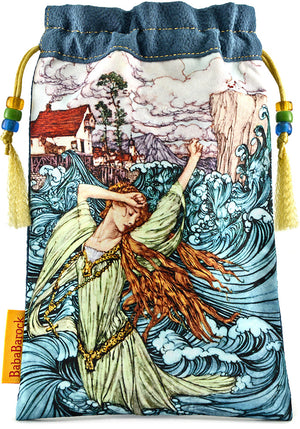 Limited Edition tarot bag in vintage kimono silk. Printed tarot pouch featuring Undine by Arthur Rackham. By Baba Studio.