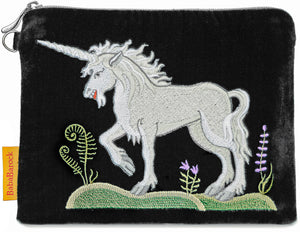unicorn, embroidered unicorn, silk velvet clutch, wristlet,  medieval unicorn, wristlet, medieval embroidery