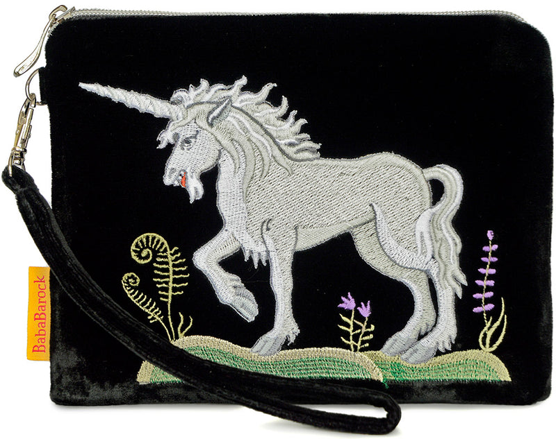 unicorn, embroidered unicorn, silk velvet clutch, wristlet,  medieval unicorn, wristlet bag, tarot pouch, tarot bag, medieval embroidery