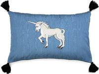 Embroidered cushion, unicorn pillow, medieval unicorn embroidery, vintage fabric