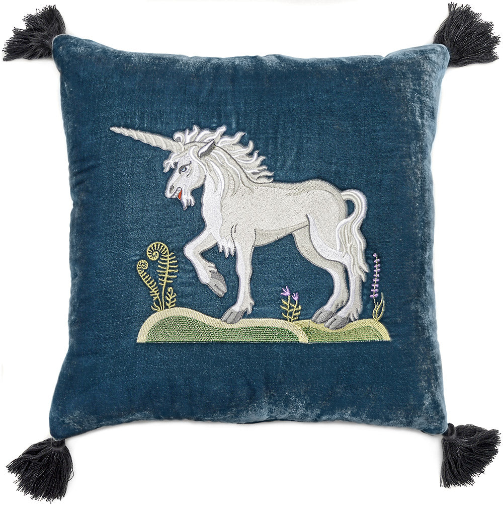 Unicorn, cushion, pillow, silk velvet, embroidered, medieval unicorn, unicorn embroidery