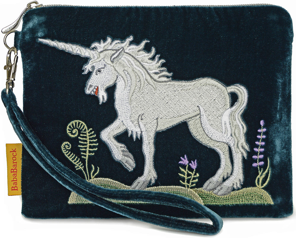 unicorn embroidery, embroidered unicorn, silk velvet bag, medieval unicorn design, embroidered wristlet, medieval embroidery