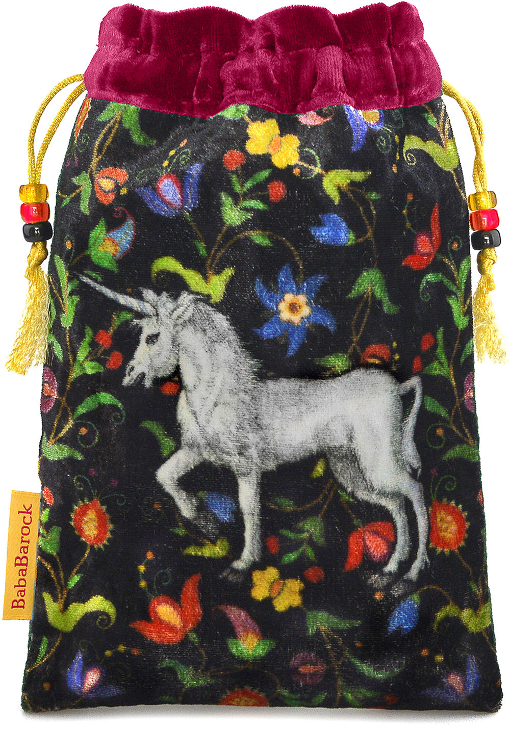 The Unicorn bag. Printed on silk velvet. Burgundy red velvet version.