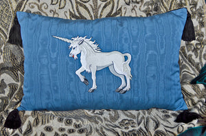 Unicorn cushion, embroidered pillow, vintage fabric, designed by Baba Studio